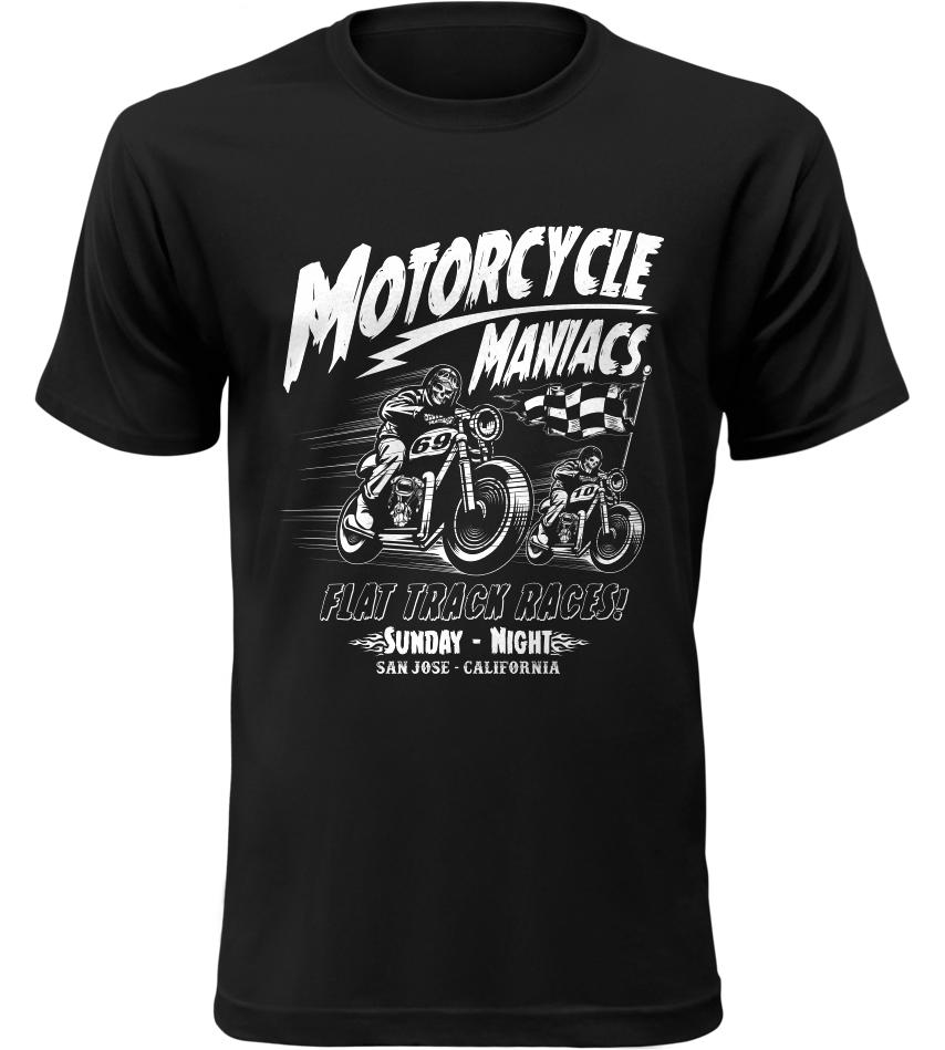 Pánské motorkářské tričko Motorcycle Maniacs černé