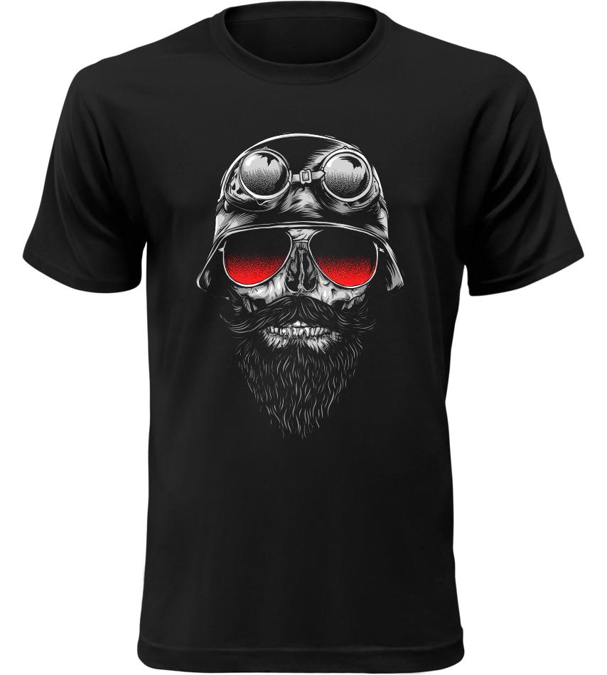 Pánské motorkářské tričko Bone Rider černé