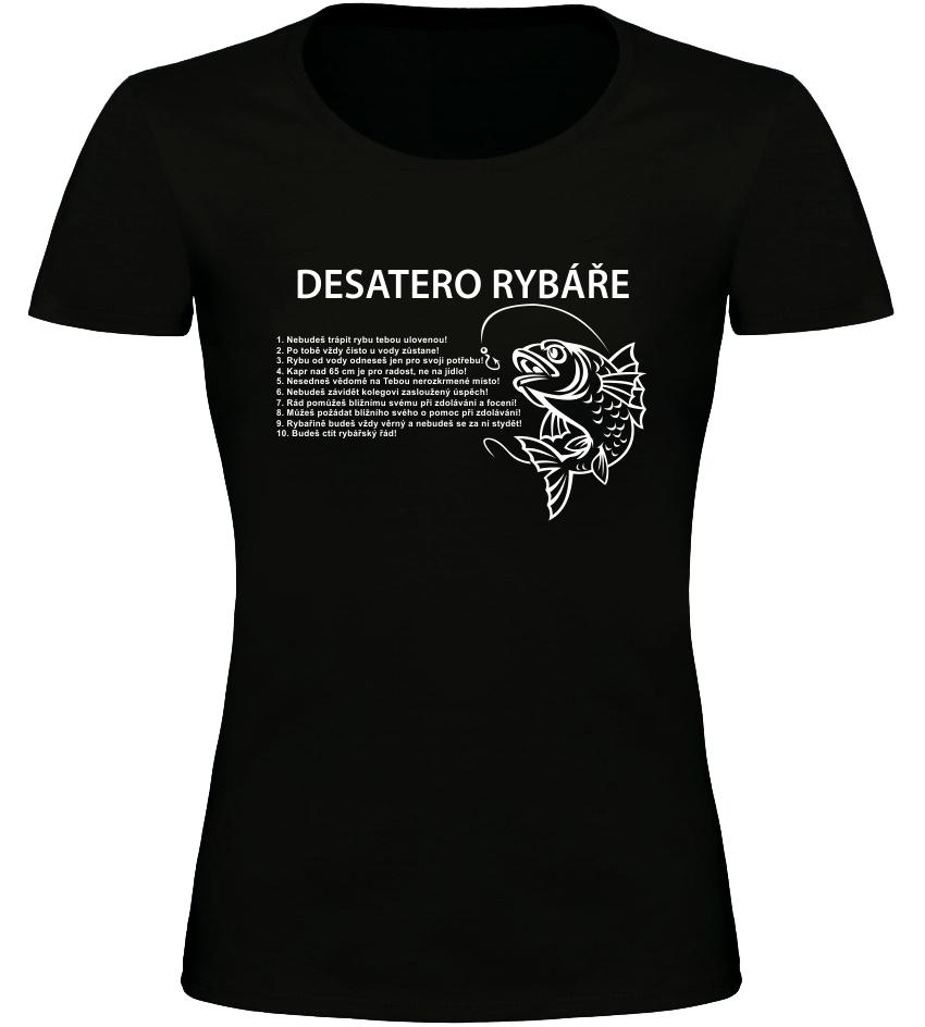 Dámské rybářské tričko Desatero rybáře černé