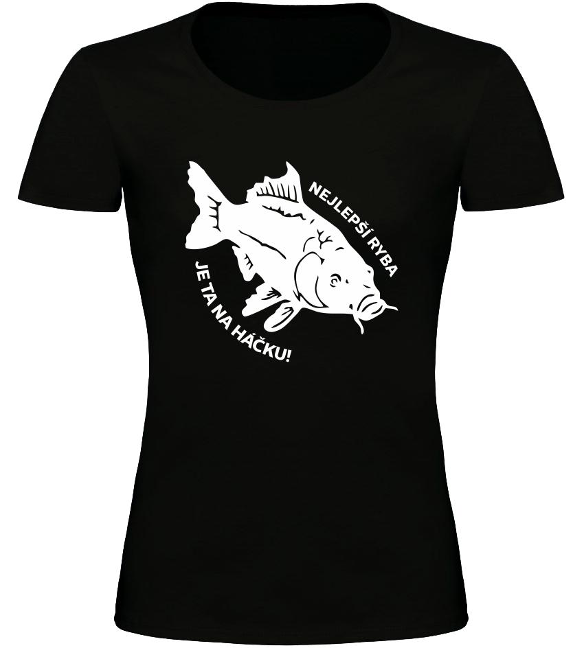 Dámské rybářské tričko Nejlepší ryba černé