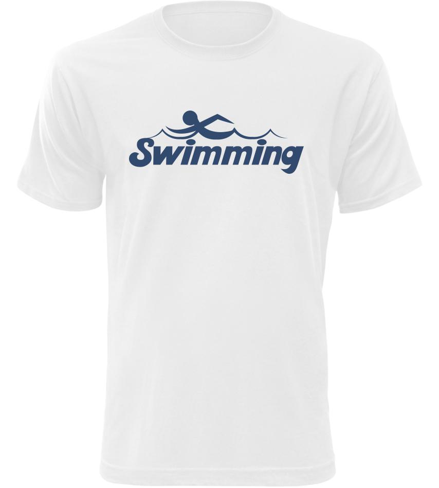 Pánské tričko Swimming bílé