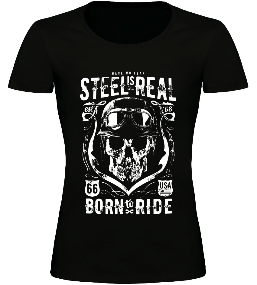 Dámské motorkářské tričko Steel is Real černé