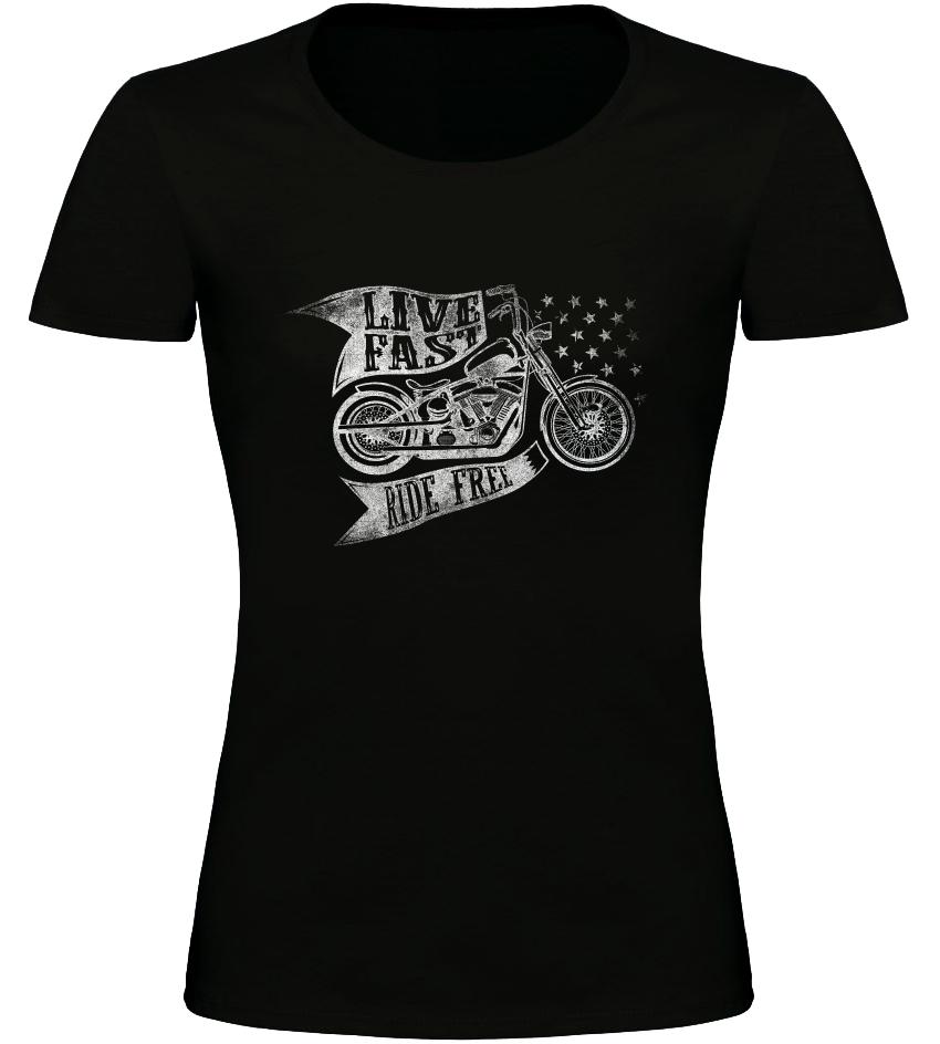 Dámské motorkářské tričko Live Fast Ride Free černé