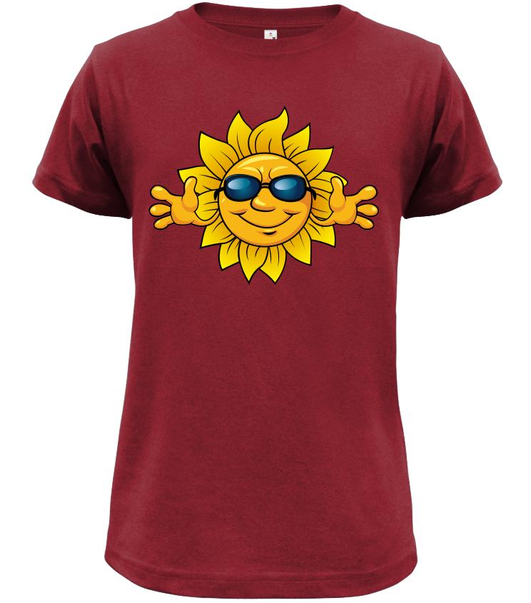 Dětské tričko se sluníčkem tmavě červené