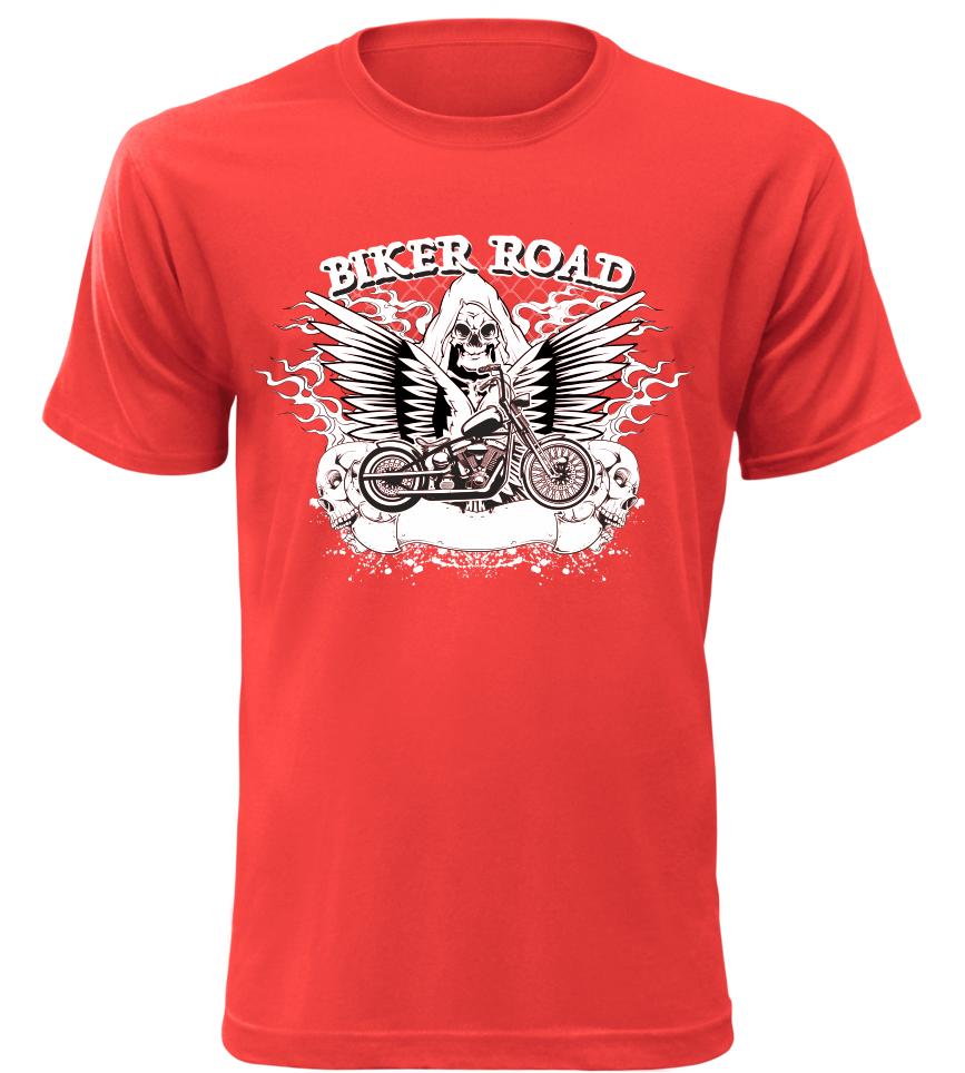 Pánské motorkářské tričko Biker Road červené