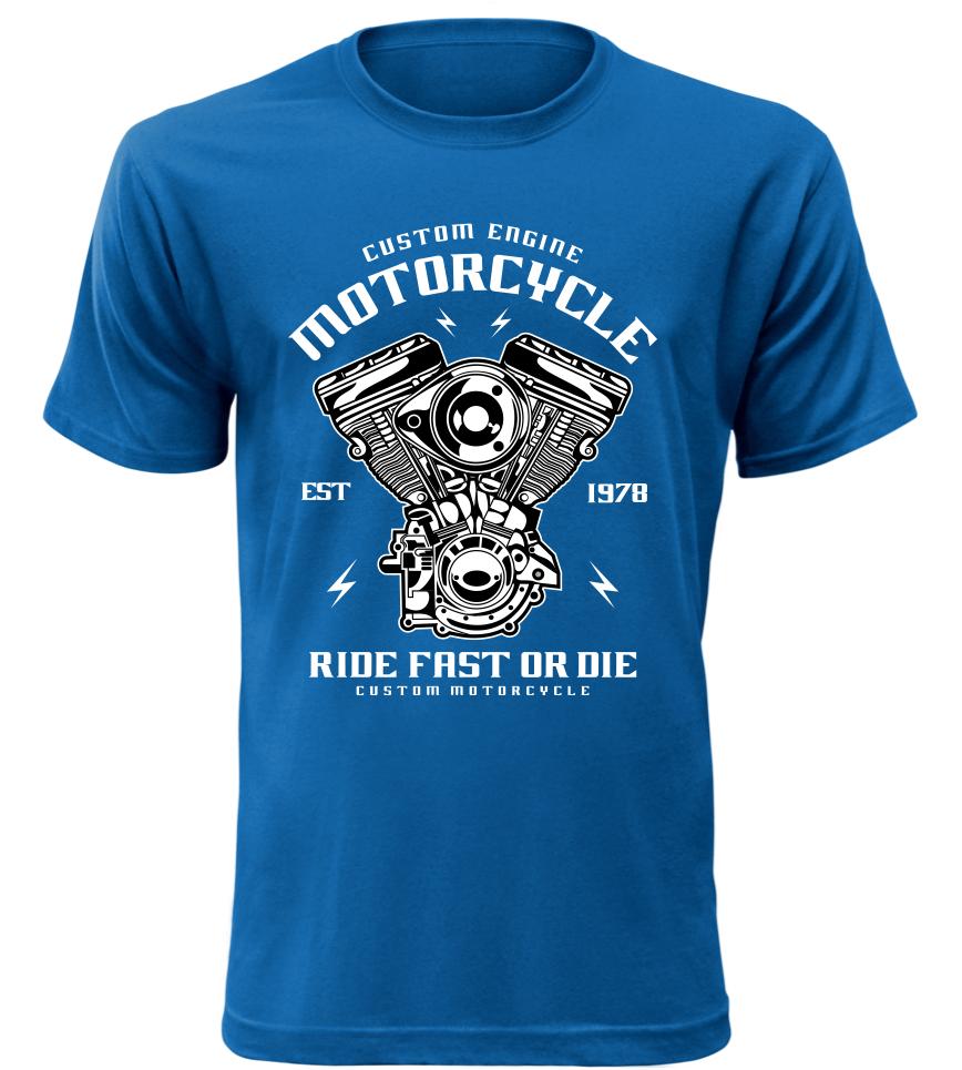 Pánské motorkářské tričko Custom Engine modré