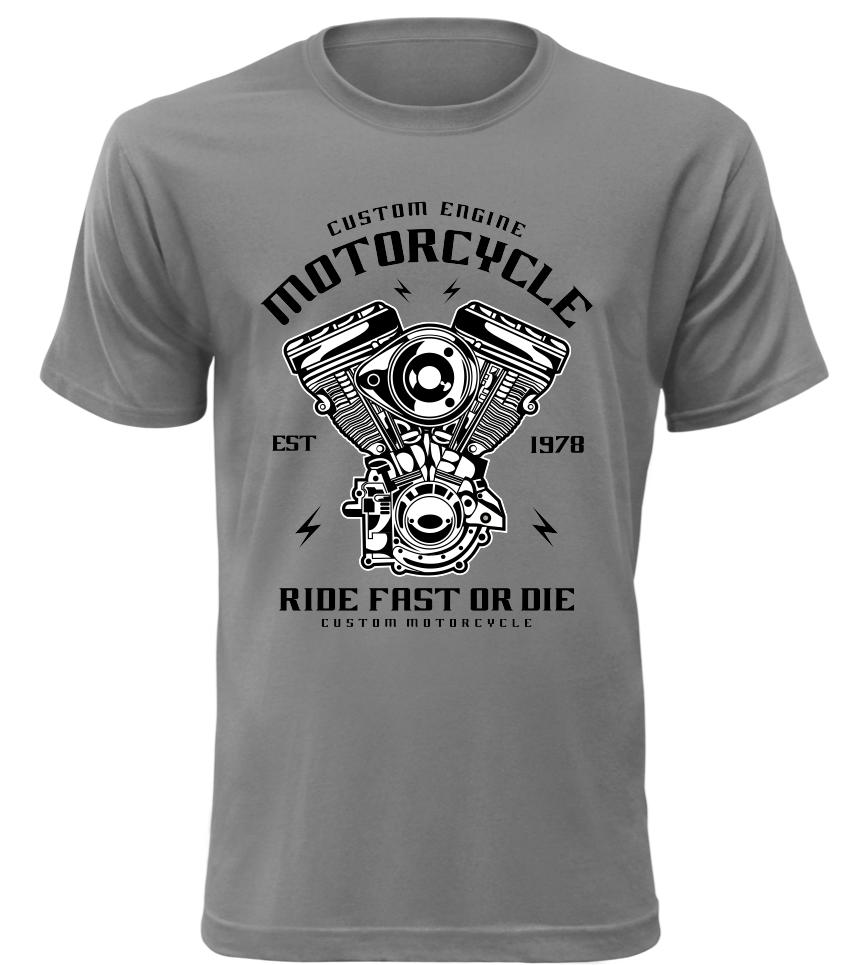 Pánské motorkářské tričko Custom Engine šedé  6d13487339