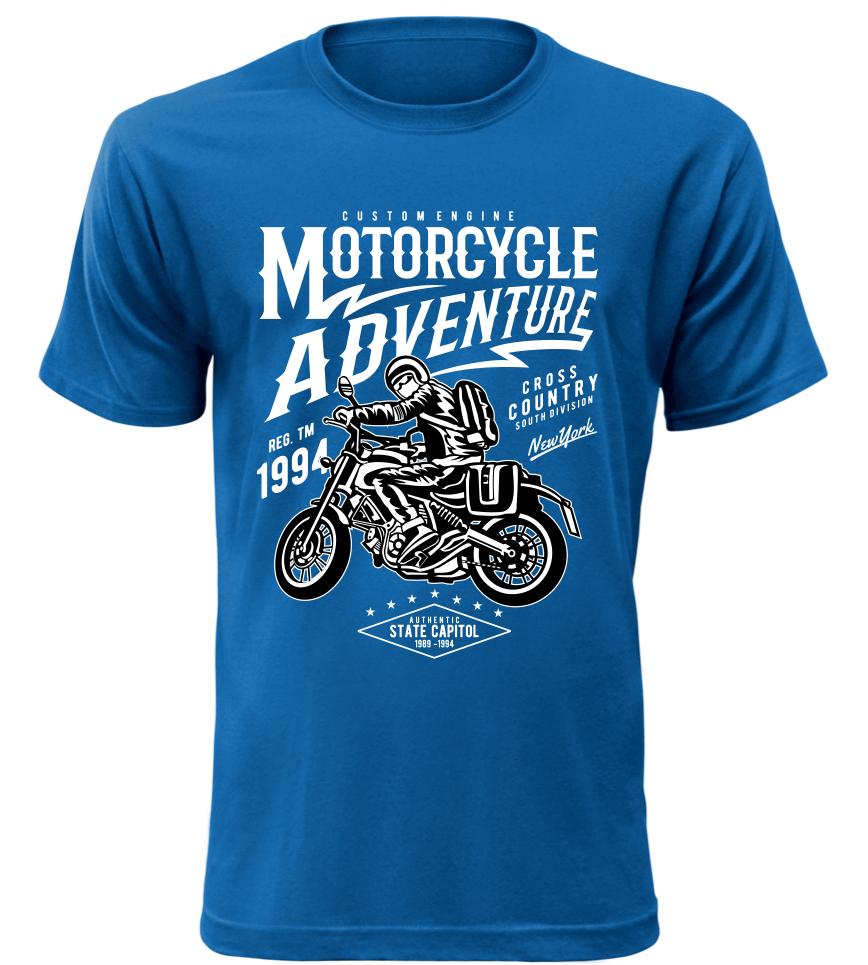 Pánské motorkářské tričko Motorcycle Adventure modré