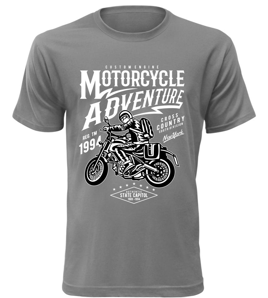 Pánské motorkářské tričko Motorcycle Adventure šedé