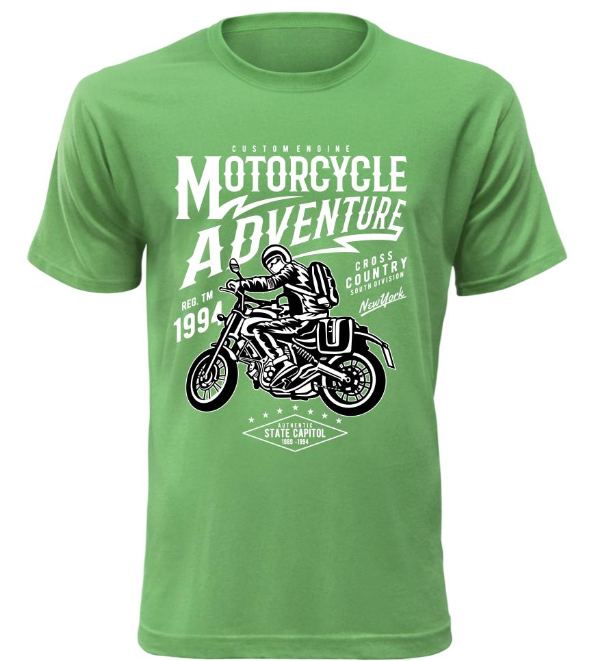 Pánské motorkářské tričko Motorcycle Adventure zelené