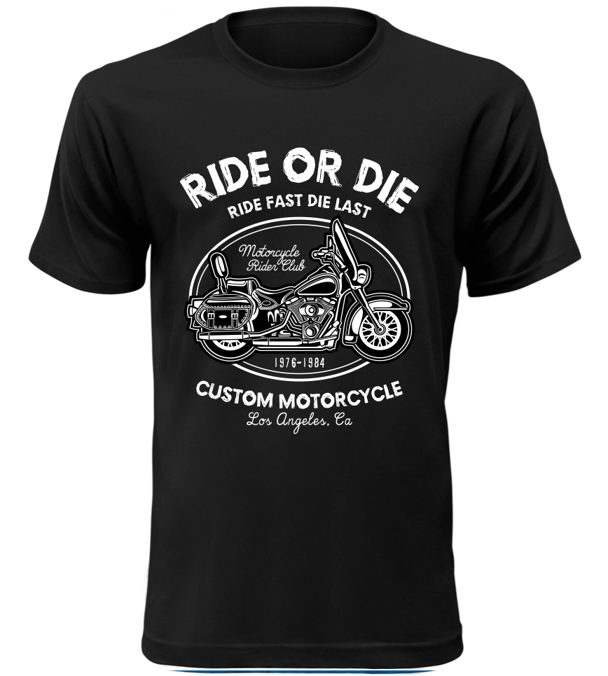 Pánské motorkářské tričko Ride or Die černé