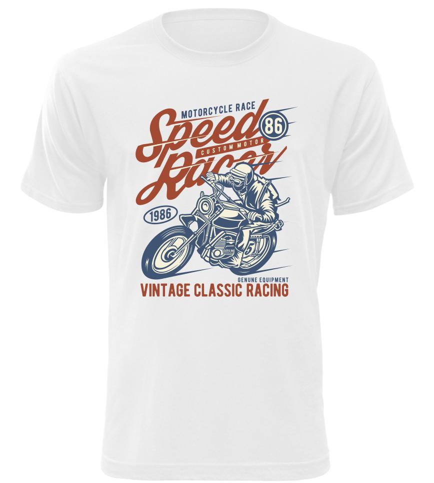 Pánské motorkářské tričko Vintage Classic Racing bílé