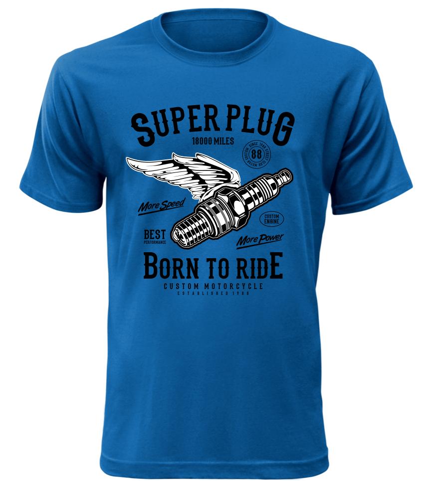 Pánské motorkářské tričko Super Plug modré