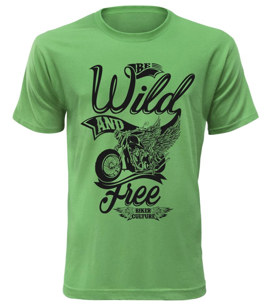 Pánské motorkářské tričko Wild and free zelené
