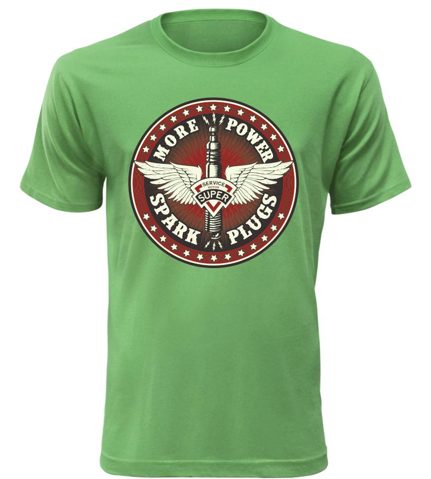 Pánské motorkářské tričko Spark Plugs zelené