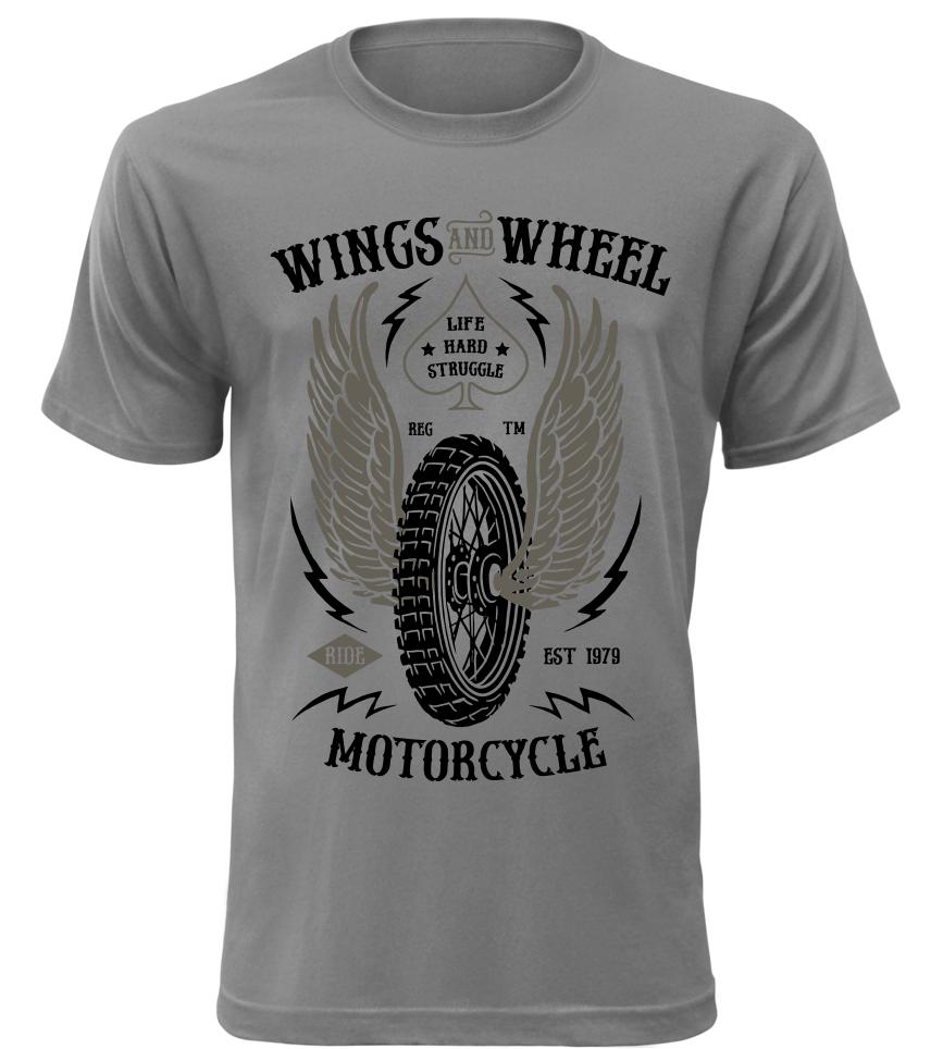 Pánské motorkářské tričko Wings and Wheel Motorcycle šedé