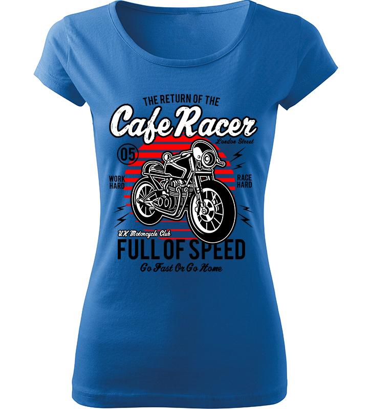 Dámské motorkářské tričko Full of Speed azurové