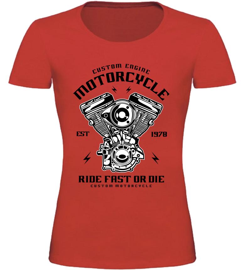 Dámské motorkářské tričko Custom Engine červené