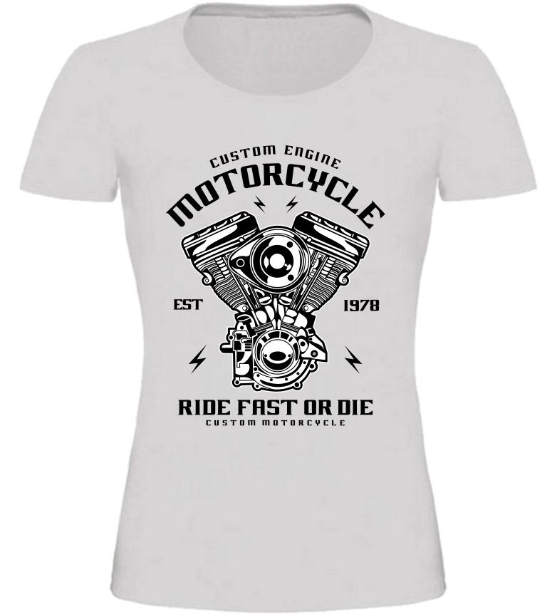 Dámské motorkářské tričko Custom Engine šedé  48191309eb