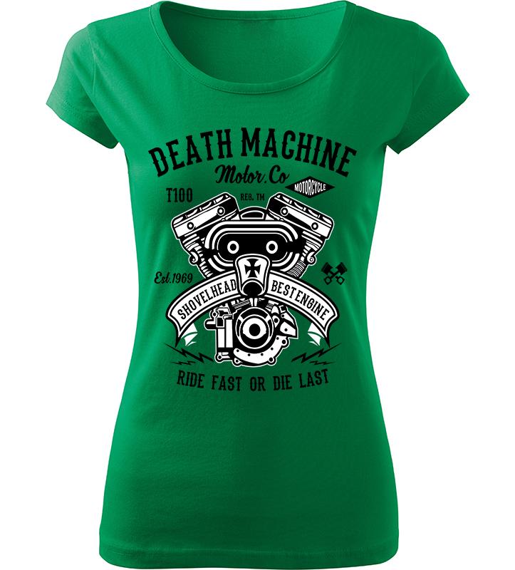 Dámské motorkářské tričko Death Machine zelené