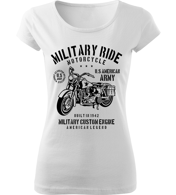 Dámské motorkářské tričko Military Ride bílé