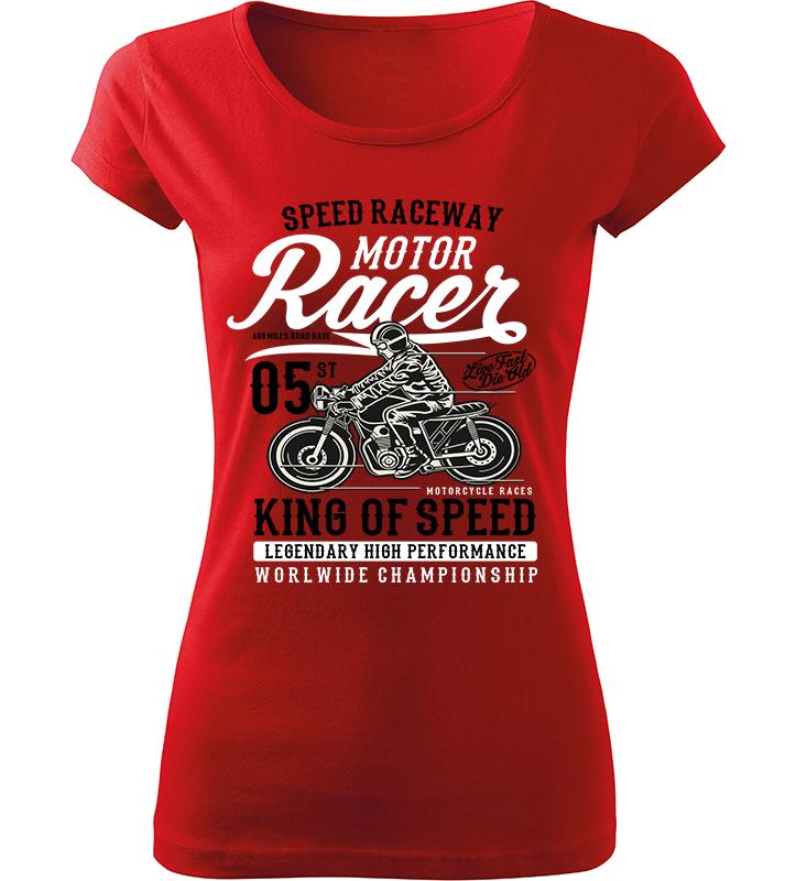 Dámské motorkářské tričko King of Speed červené