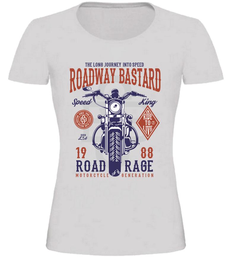 Dámské motorkářské tričko Roadway Bastard šedé