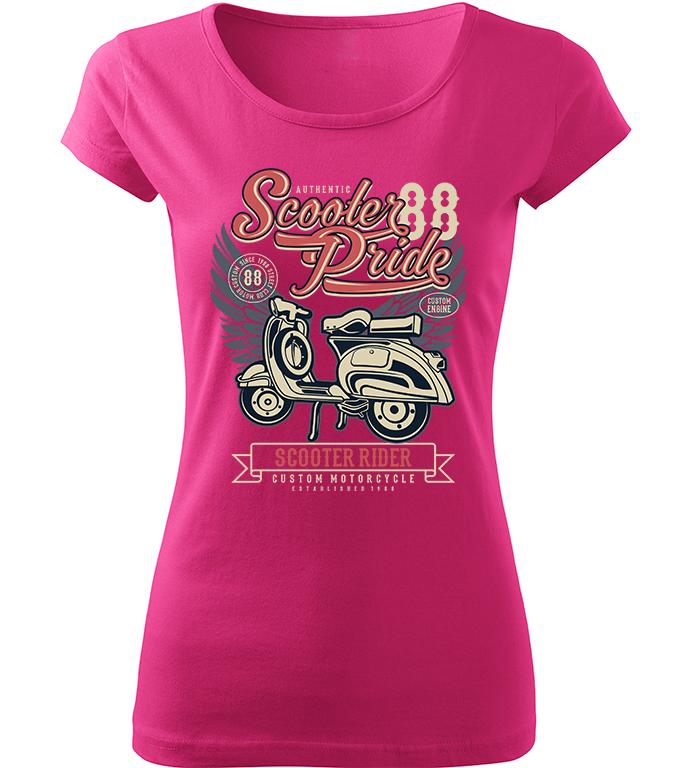 Dámské motorkářské tričko Scooter Rider růžové