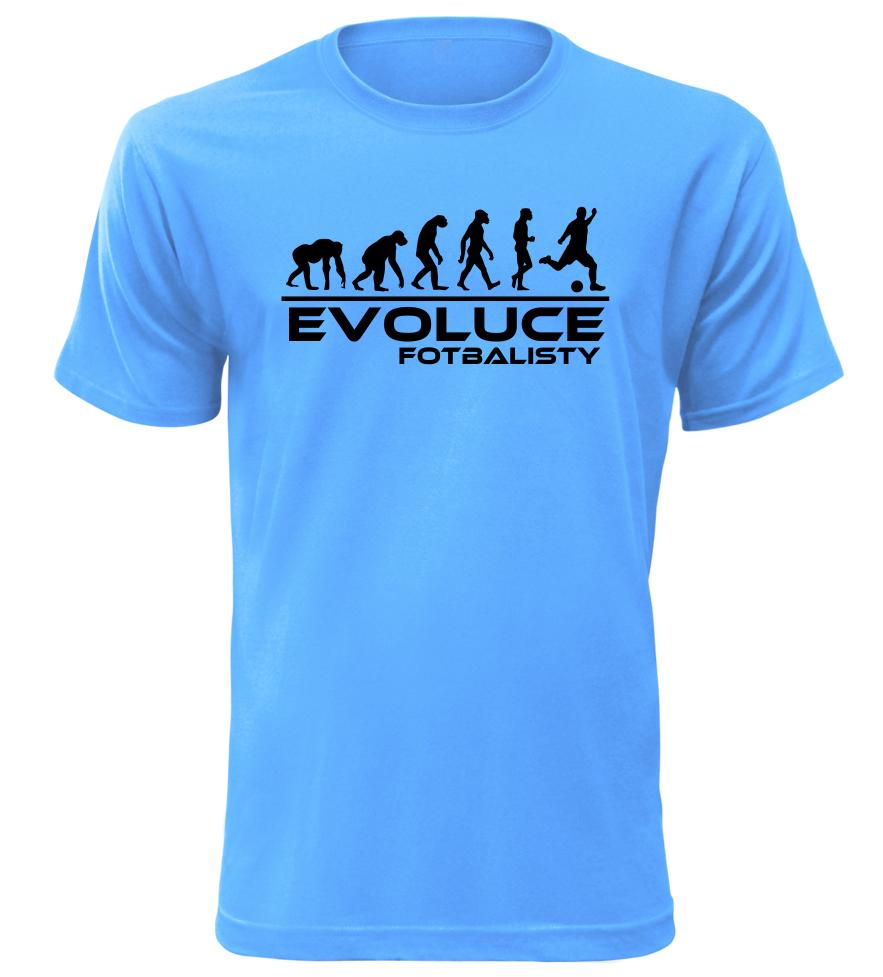 Pánské tričko evoluce fotbalisty azurové