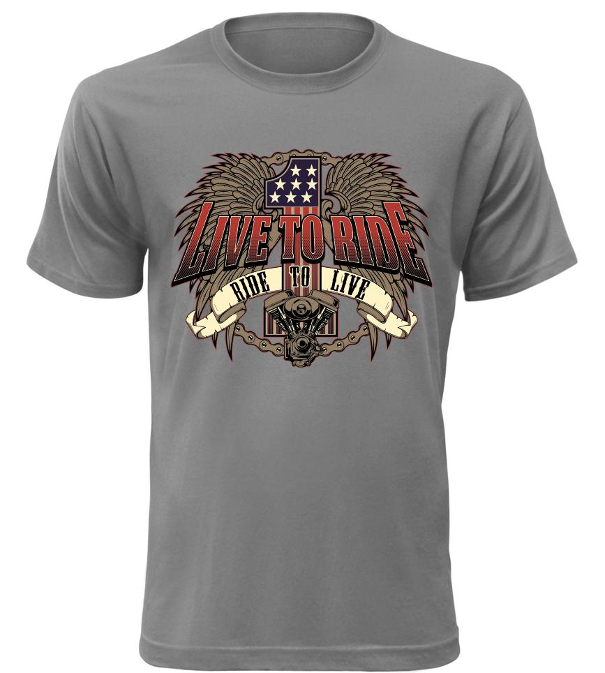 30be8dcaa327 Pánské triko pro motorkáře 1 Live to Ride šedé
