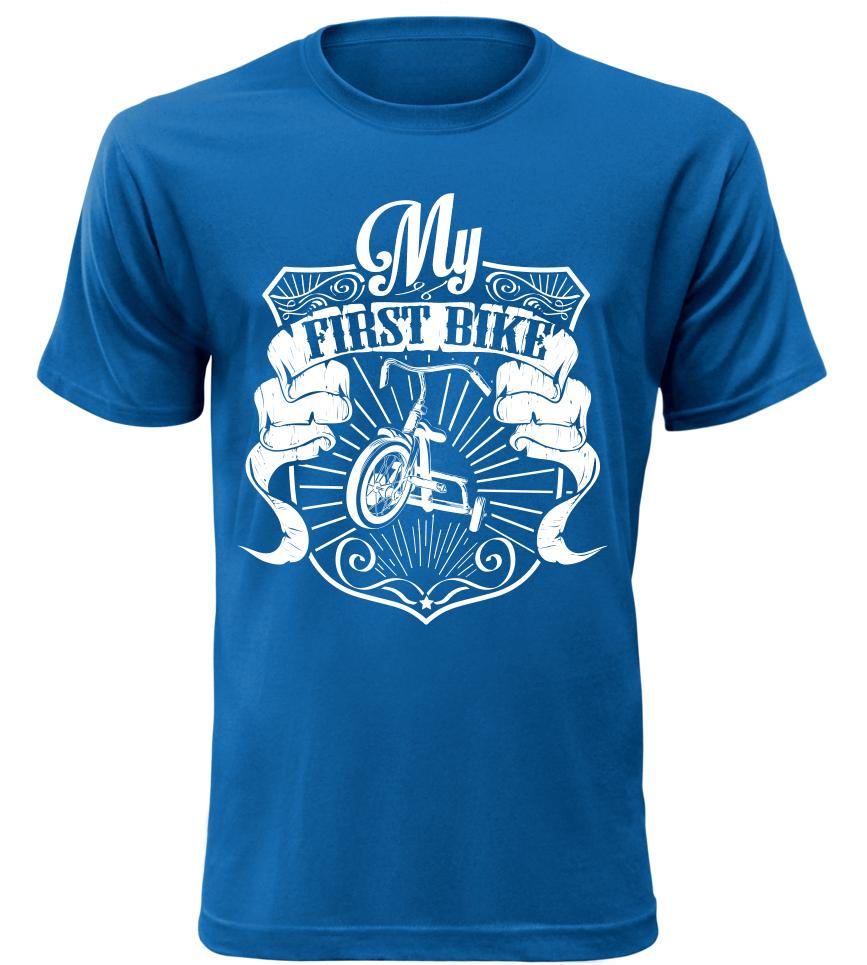 Pánské triko pro motorkáře My First Bike modré