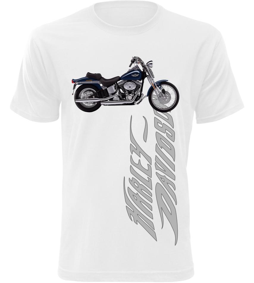 Pánské tričko s motorkou Harley Davidson bílé