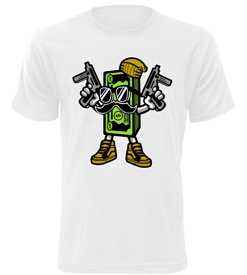 Pánské tričko Money bílé  b8c8283c0dc