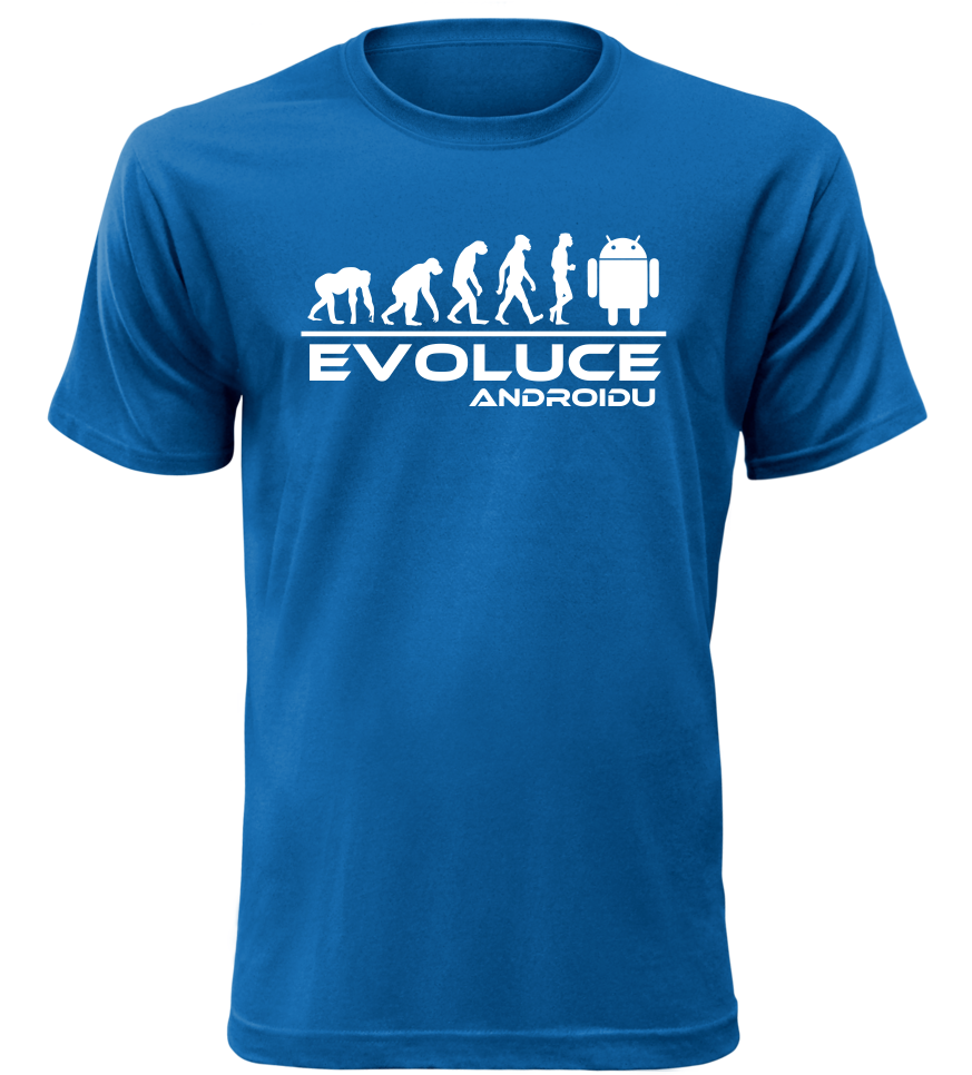 Pánské tričko evoluce Androidu modré