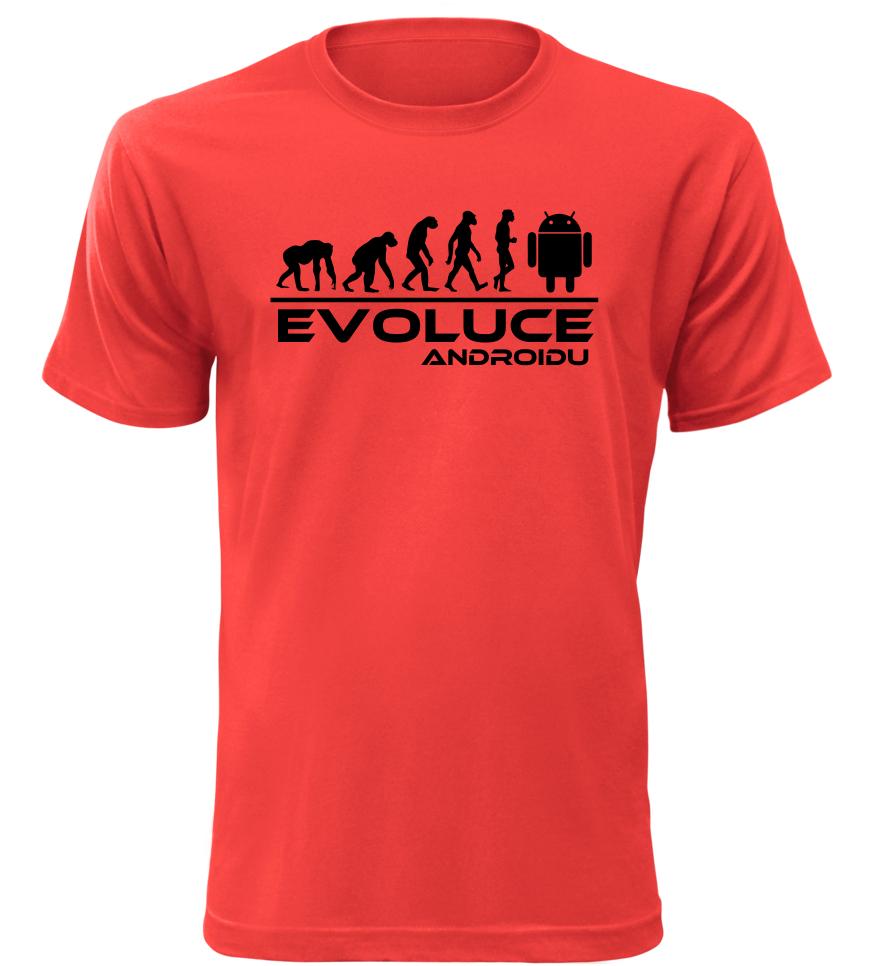 Pánské tričko evoluce Androidu červené