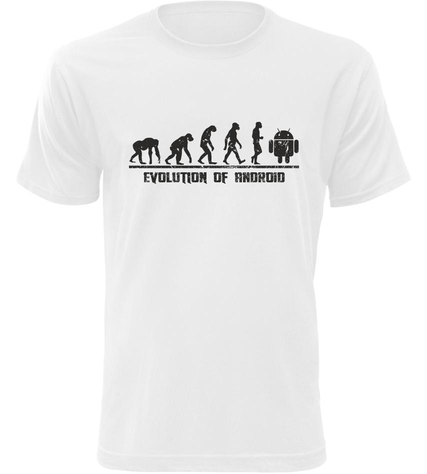 Pánské tričko Evolution Of Android bílé