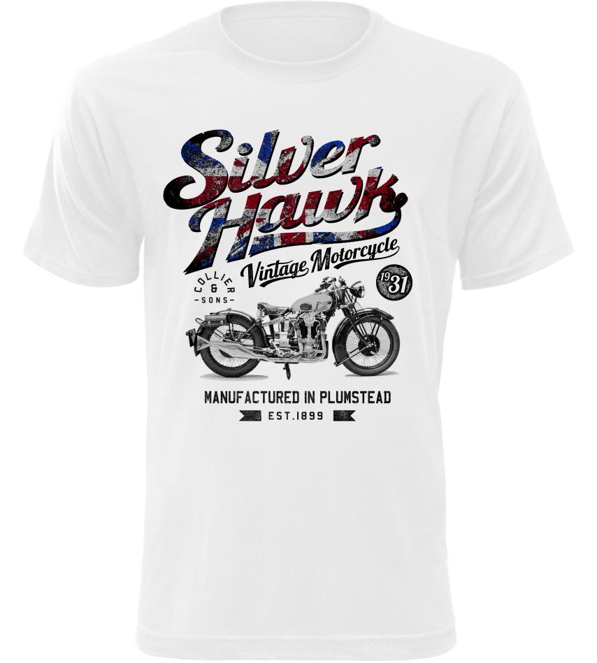 Pánské tričko Silverhawk Motorbike bílé