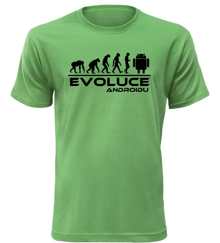 Pánské tričko evoluce Androidu zelené