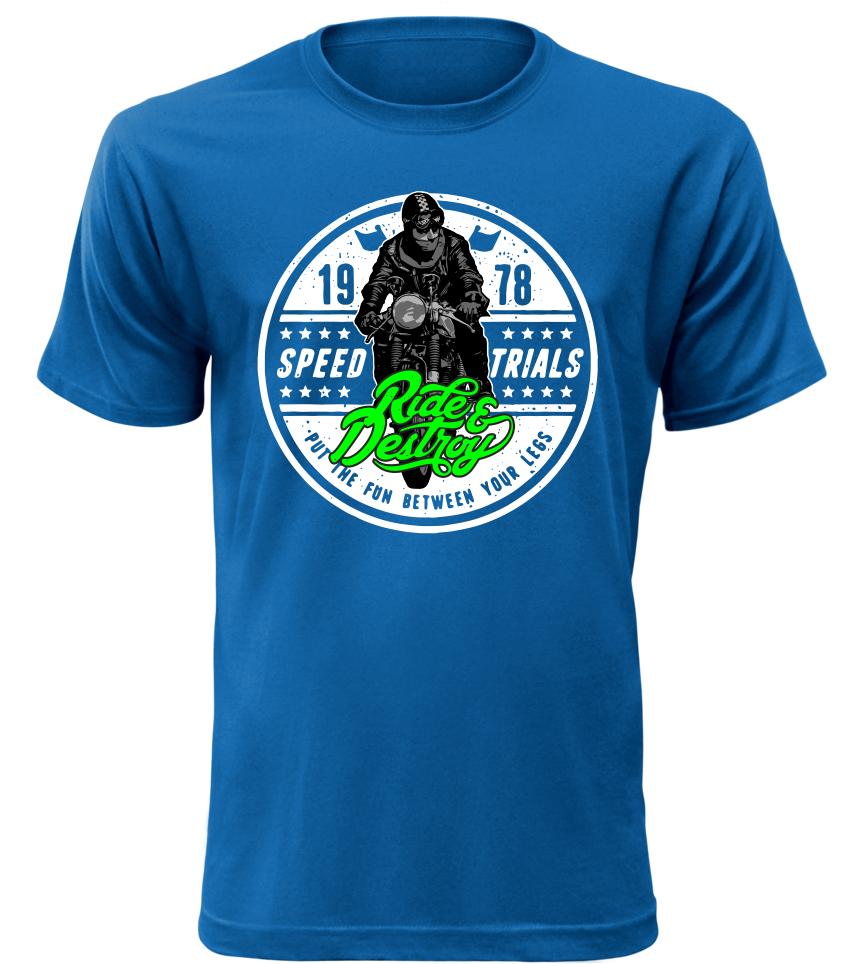 Pánské tričko Speed trials modré