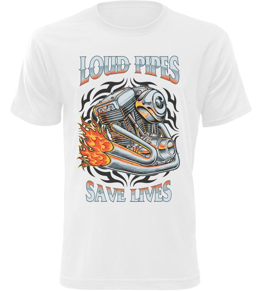 Pánské tričko Load Pipes Save Lives bílé