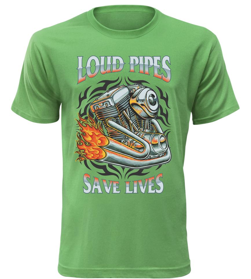 Pánské tričko Load Pipes Save Lives zelené