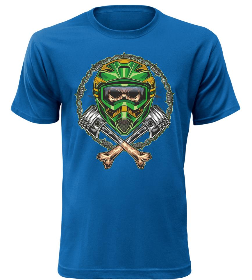 01456f4ce045 Pánské tričko Motocross Skull modré