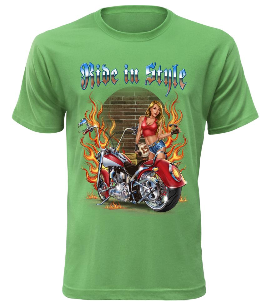 Pánské tričko Ride in Style zelené
