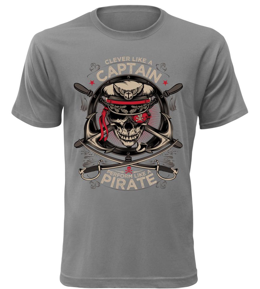 Pánské tričko Captain Pirate šedé