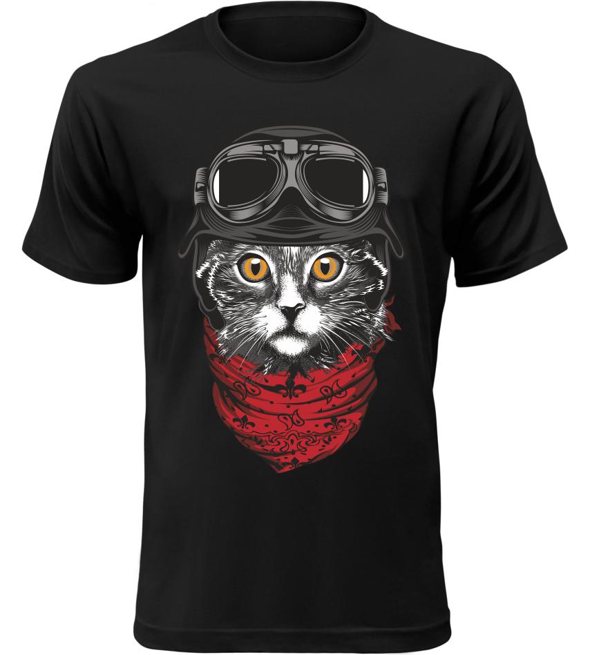 Pánské tričko Moto kočka černé