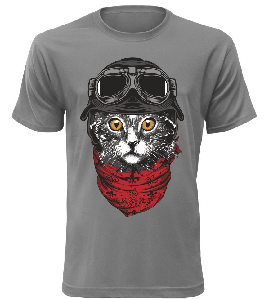 Pánské tričko Moto kočka šedé