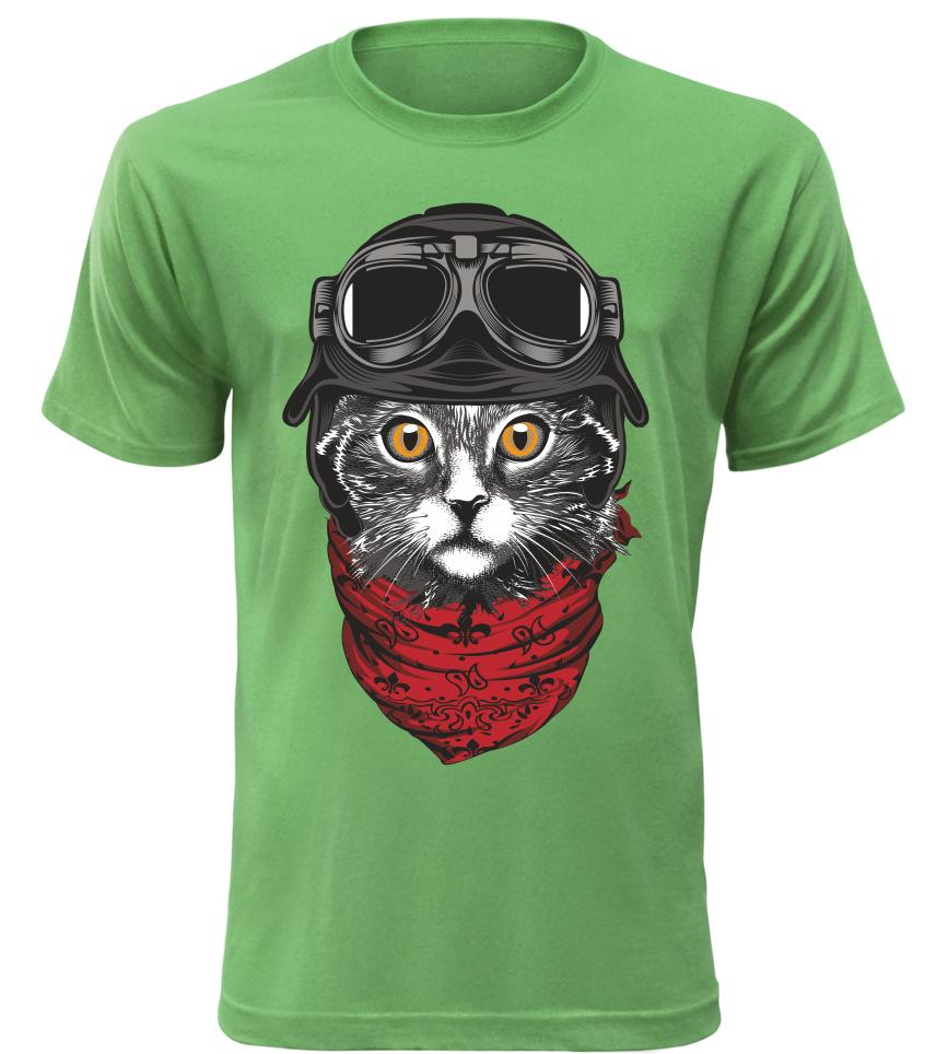 Pánské tričko Moto kočka zelené