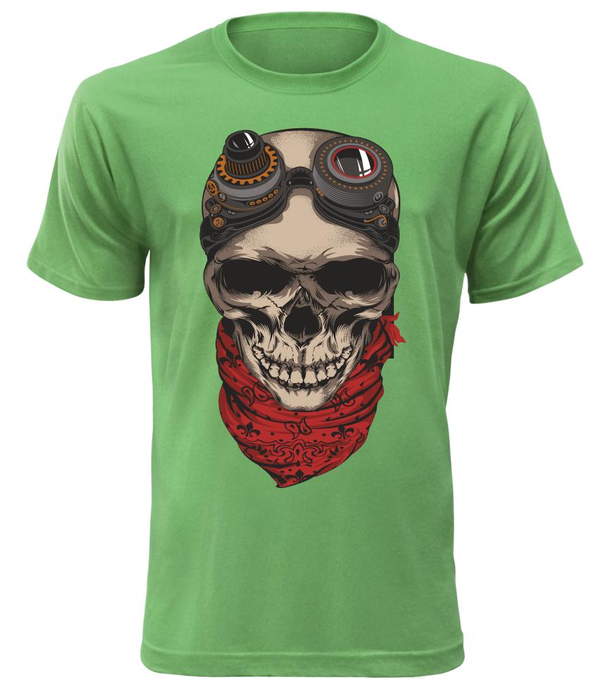 Pánské motorkářské tričko Skullpunk zelené