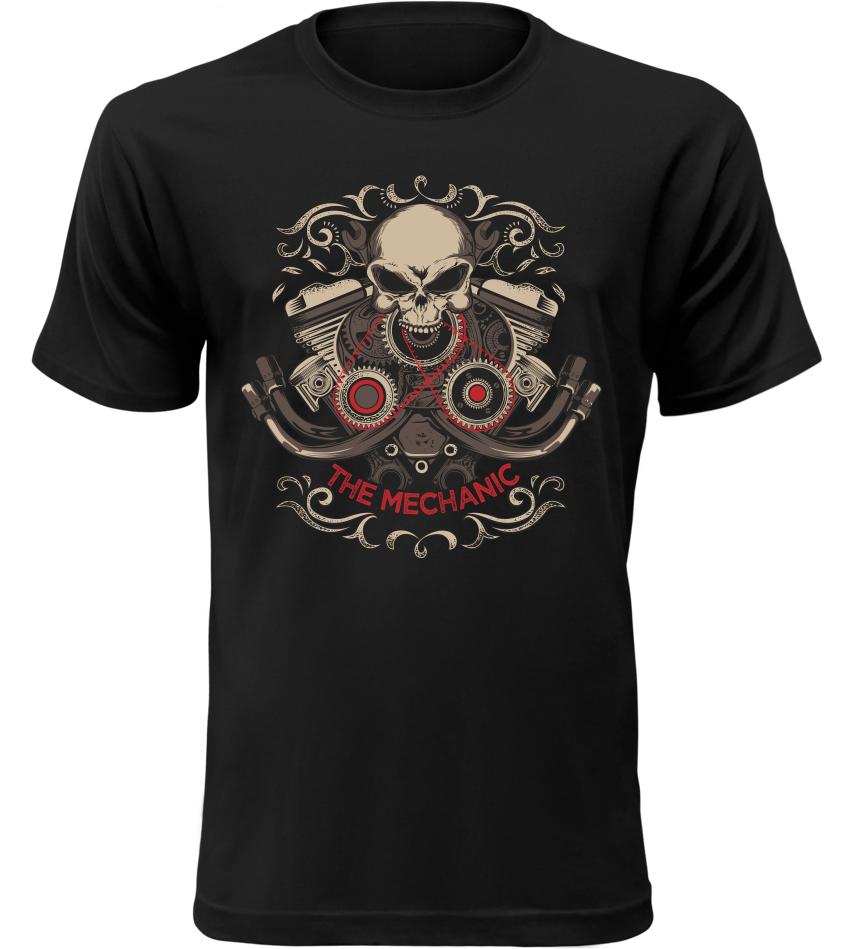 Pánské motorkářské tričko The Mechanic černé