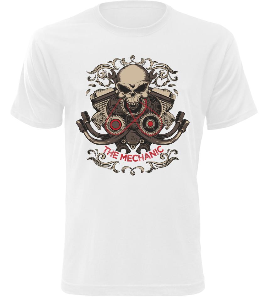 Pánské motorkářské tričko The Mechanic bílé